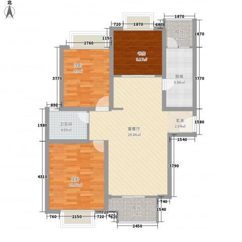 凯尔枫尚3室1厅1卫1厨110.00㎡户型图