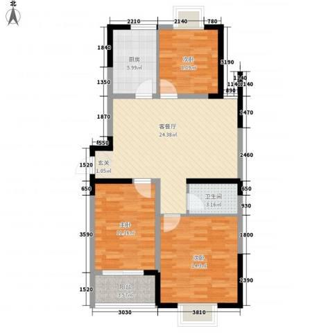 大成优盘3室1厅1卫1厨80.74㎡户型图