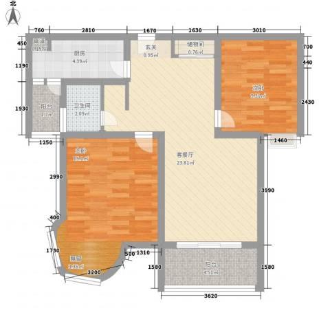 凯尔枫尚2室1厅1卫1厨91.00㎡户型图
