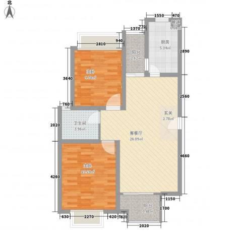 凯尔枫尚2室1厅1卫1厨93.00㎡户型图