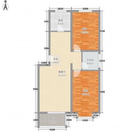 凝瑞苑2室1厅1卫1厨75.25㎡户型图