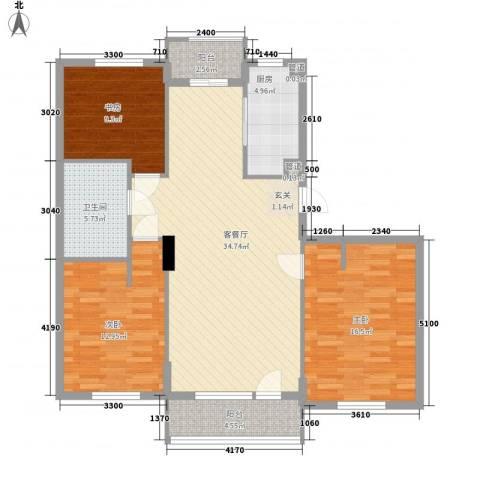 阳光御湖苑3室1厅1卫1厨128.00㎡户型图
