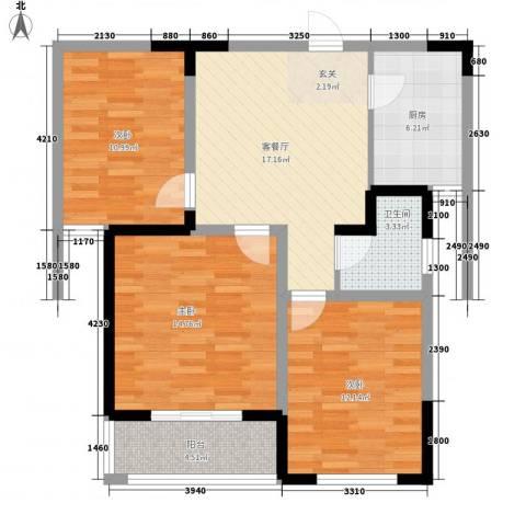 大成优盘3室1厅1卫1厨79.70㎡户型图