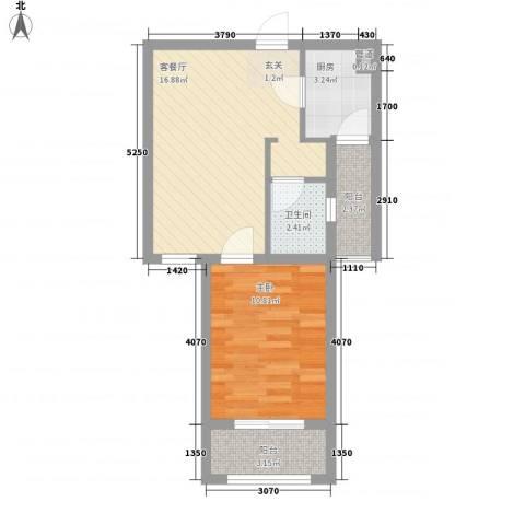 阳光御湖苑1室1厅1卫1厨57.00㎡户型图