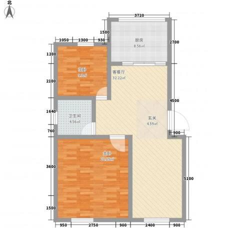 钻石新城2室1厅1卫1厨75.83㎡户型图