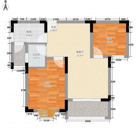 石塔北苑2室1厅1卫1厨79.00㎡户型图