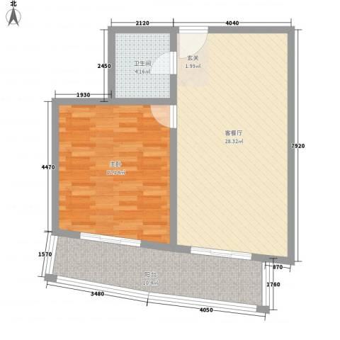 铂金领域1室1厅1卫0厨85.00㎡户型图