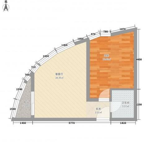 铂金领域1室1厅1卫0厨57.00㎡户型图