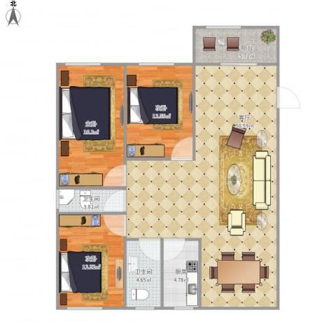 东海丽景花园2345243室1厅2卫1厨146.00㎡户型图