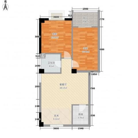 彩虹湾佳园2室1厅1卫1厨67.21㎡户型图