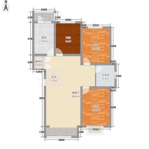 包豪斯国际社区3室1厅1卫1厨92.14㎡户型图