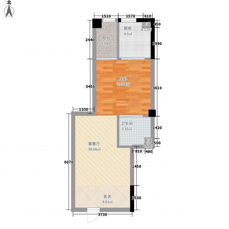 彩虹湾佳园55.70㎡二期4#楼2-9层B1单元户型1室1厅1卫1厨