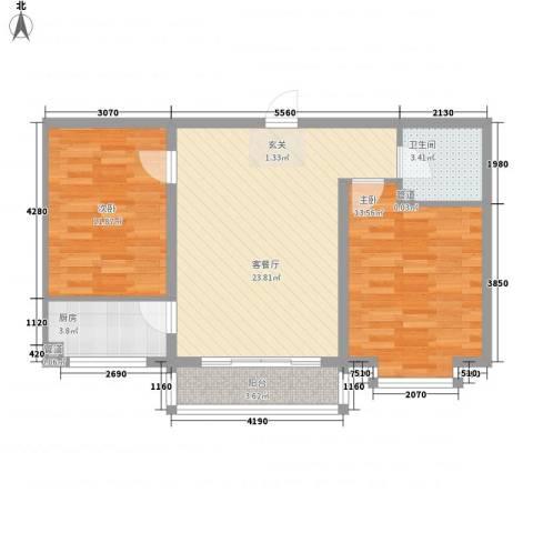 金川新城2室1厅1卫1厨84.00㎡户型图