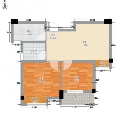 128国际公寓2室1厅1卫1厨70.00㎡户型图