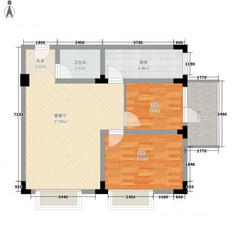 爱特公寓2室1厅1卫1厨62.86㎡户型图