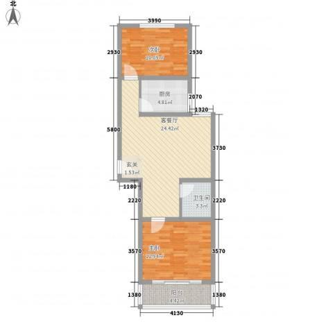 珠峰苑2室1厅1卫1厨87.00㎡户型图