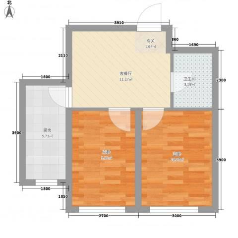 城南春晓2室1厅1卫1厨57.00㎡户型图