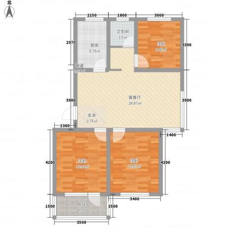 城南春晓3室1厅1卫1厨105.00㎡户型图