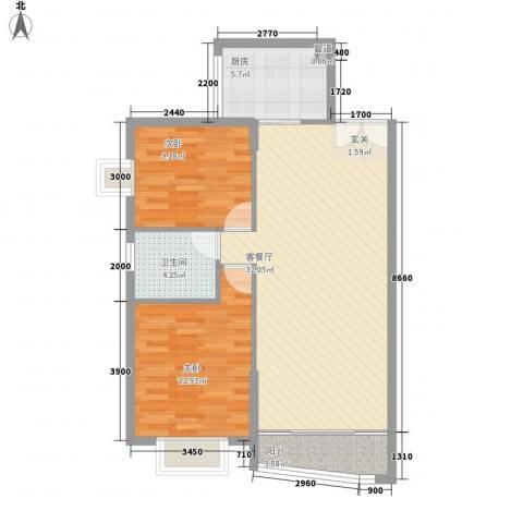 探矿宿舍2室1厅1卫1厨94.00㎡户型图