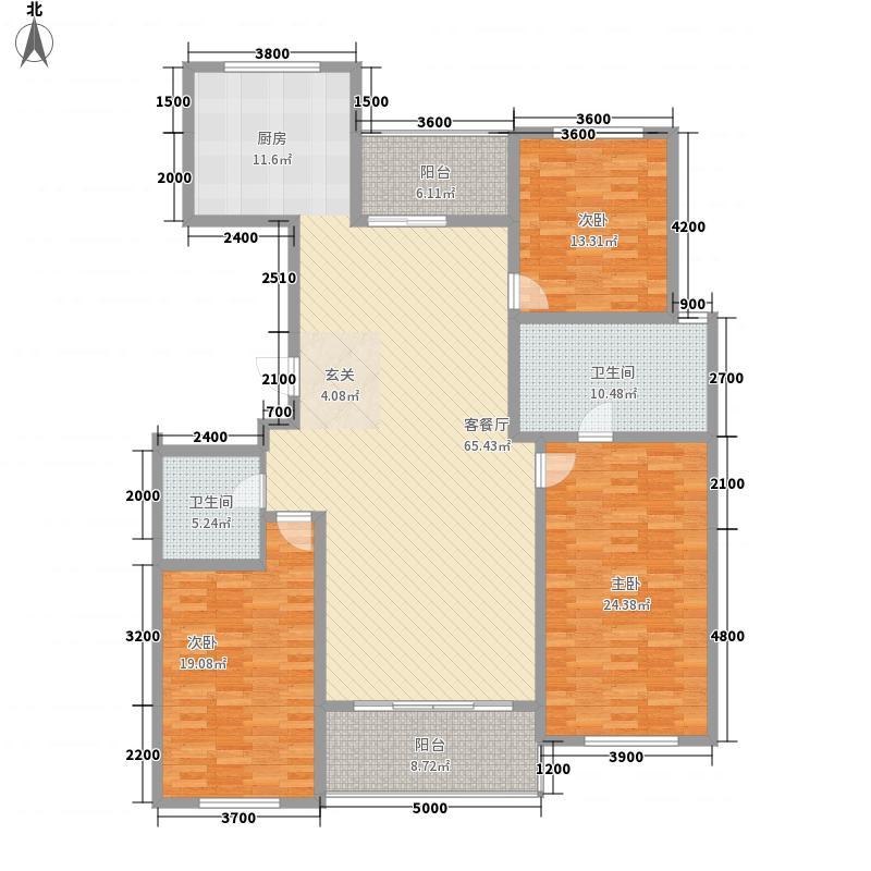 九英里颢苑1#3#楼高层标准层B户型3室2厅2卫1厨