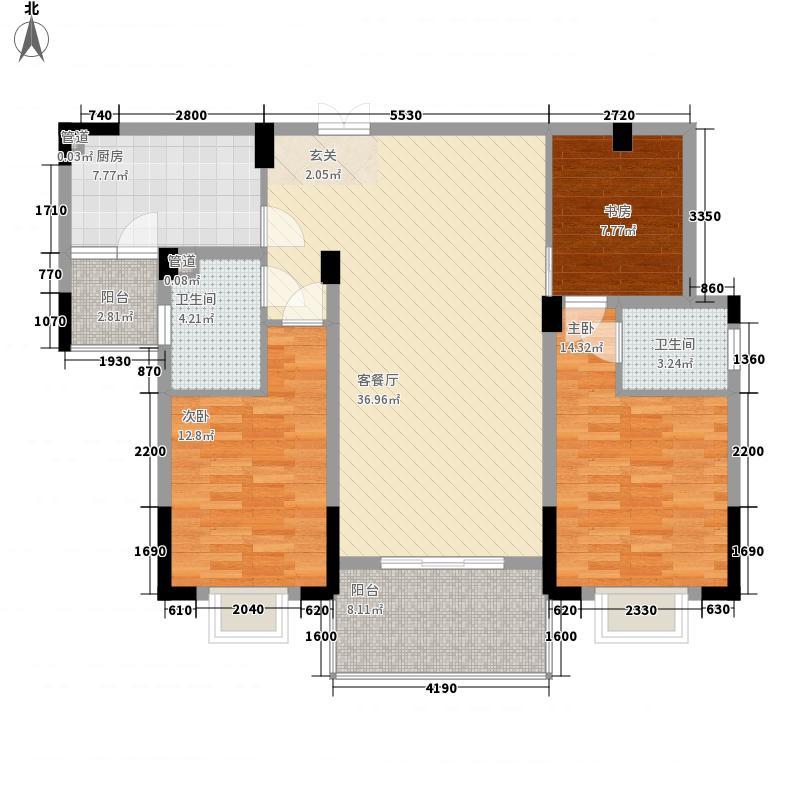 文昌苑126.58㎡16#G4户型3室2厅2卫1厨