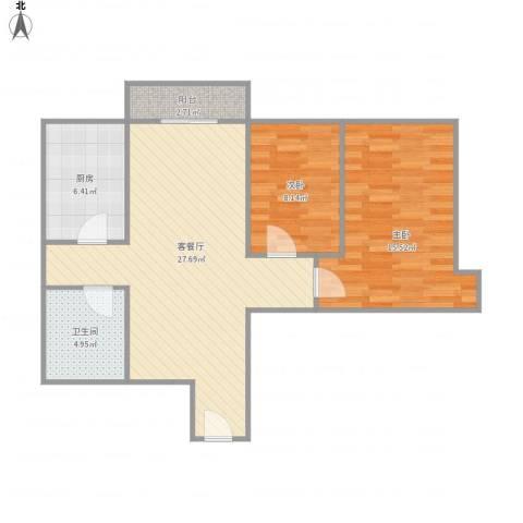 白桦林间22-1-2002室2室1厅1卫1厨88.00㎡户型图
