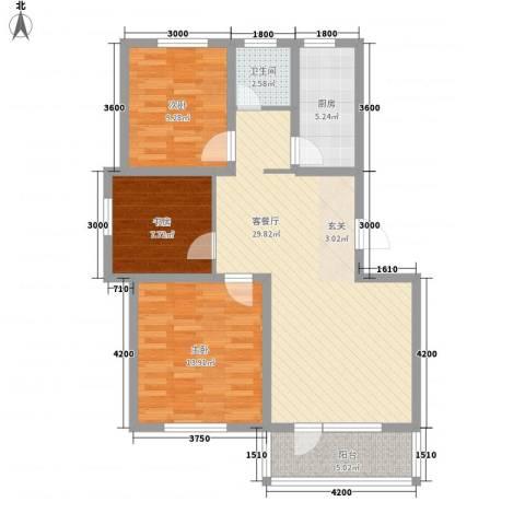 城南春晓3室1厅1卫1厨106.00㎡户型图