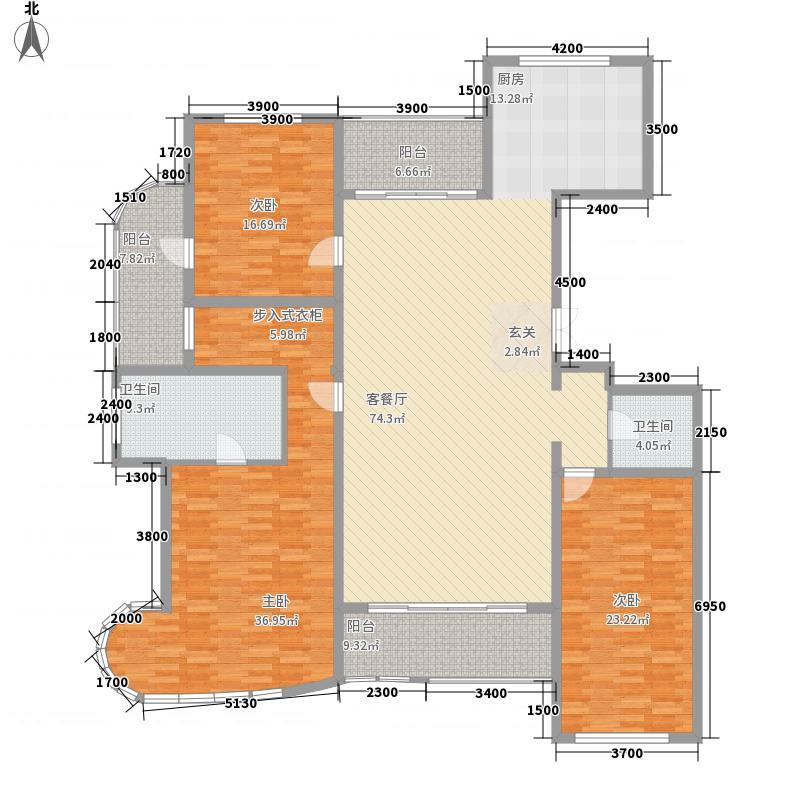 九英里颢苑22.00㎡2#楼高层标准层A′户型3室2厅2卫1厨