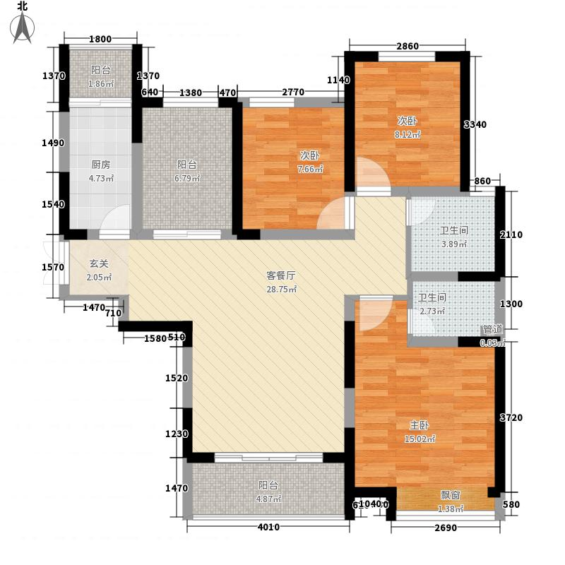 美景鸿城123.00㎡二期二批C-3户型3室2厅2卫1厨