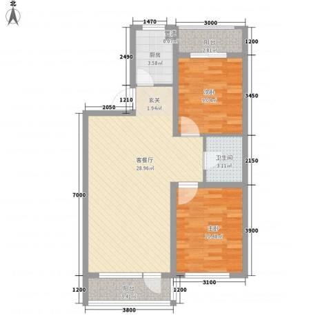 城南春晓2室1厅1卫1厨89.00㎡户型图