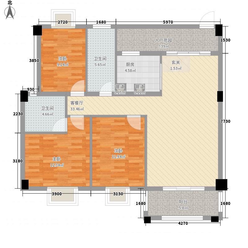 华茵・绿洲115.00㎡7幢之一标准层户型3室2厅2卫1厨