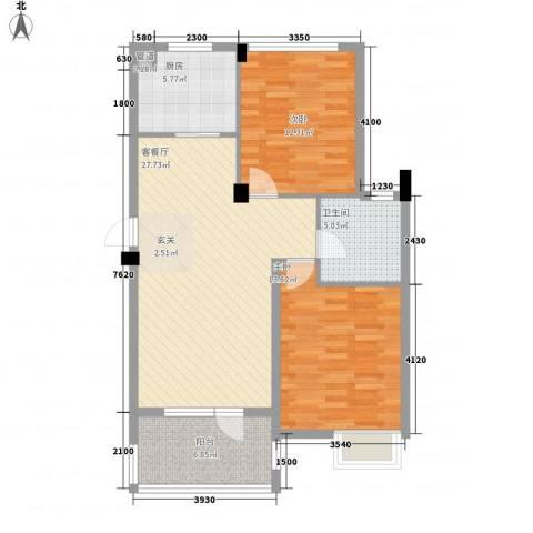 翰林苑2室1厅1卫1厨100.00㎡户型图