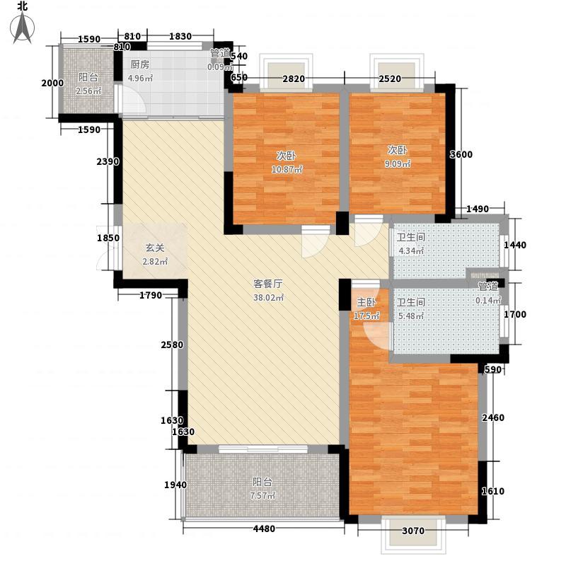 文昌苑3室1厅2卫1厨133.00㎡户型图