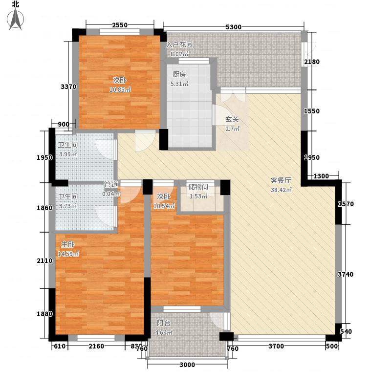 文昌苑12.21㎡8#楼X4户型3室2厅2卫1厨