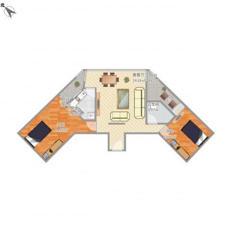 南国花园2室1厅1卫1厨84.00㎡户型图