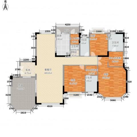 恒大华府3室1厅4卫1厨222.00㎡户型图