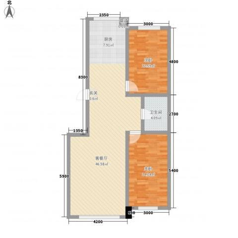 汇景星城2室1厅1卫0厨77.59㎡户型图