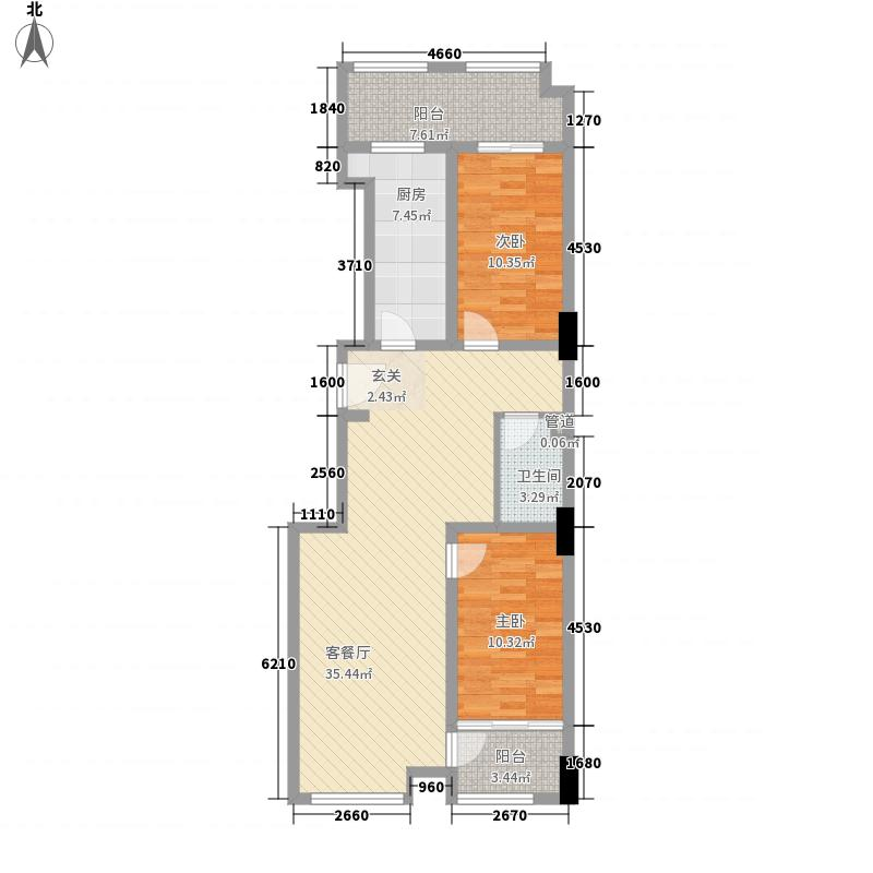 圣城乌托邦113.00㎡C户型2室2厅1卫1厨