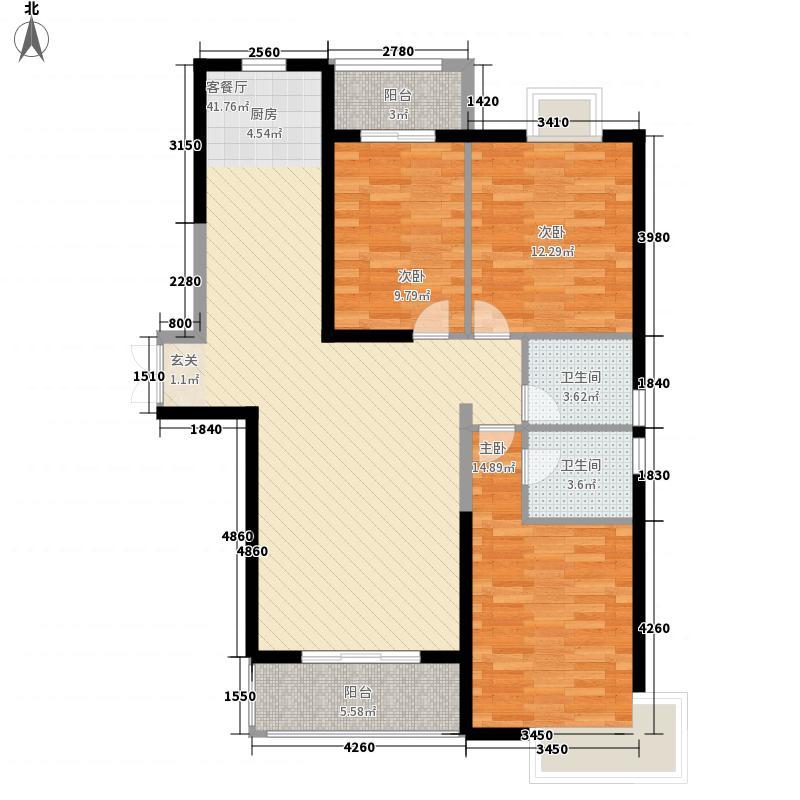 升龙凤凰城133.81㎡A区G2户型3室2厅2卫1厨