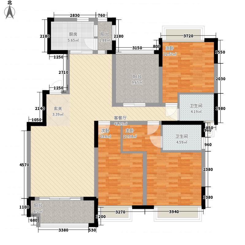 中海熙岸144.00㎡标准层A-2户型3室2厅2卫1厨