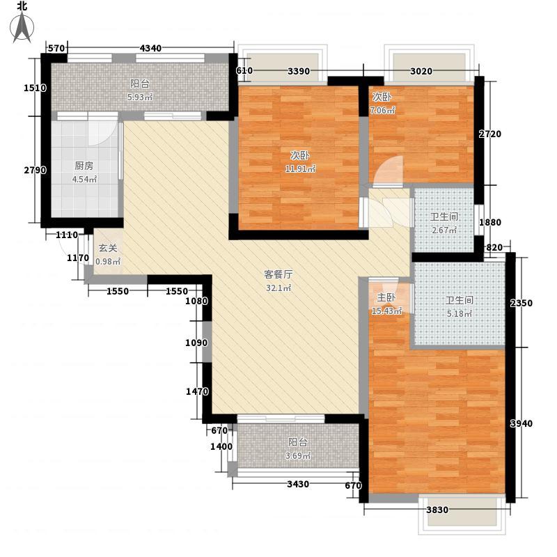 中海熙岸117.00㎡标准层C2-3户型3室2厅2卫1厨