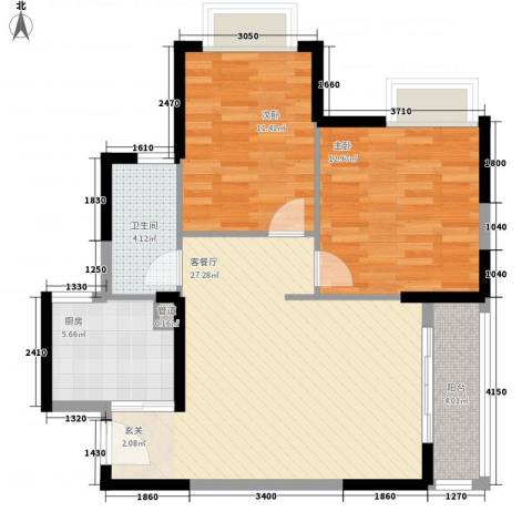 阳光四季2室1厅1卫1厨93.00㎡户型图
