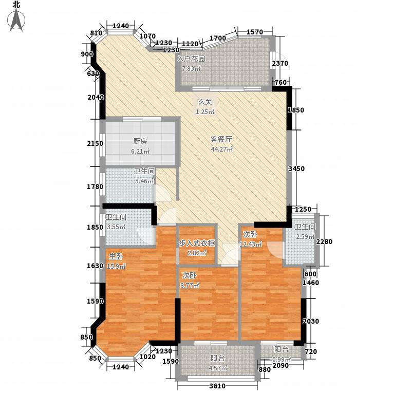 富春华庭121.68㎡B幢标准层2梯03户型3室2厅3卫1厨