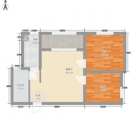 阳光御湖苑2室1厅1卫1厨47.81㎡户型图