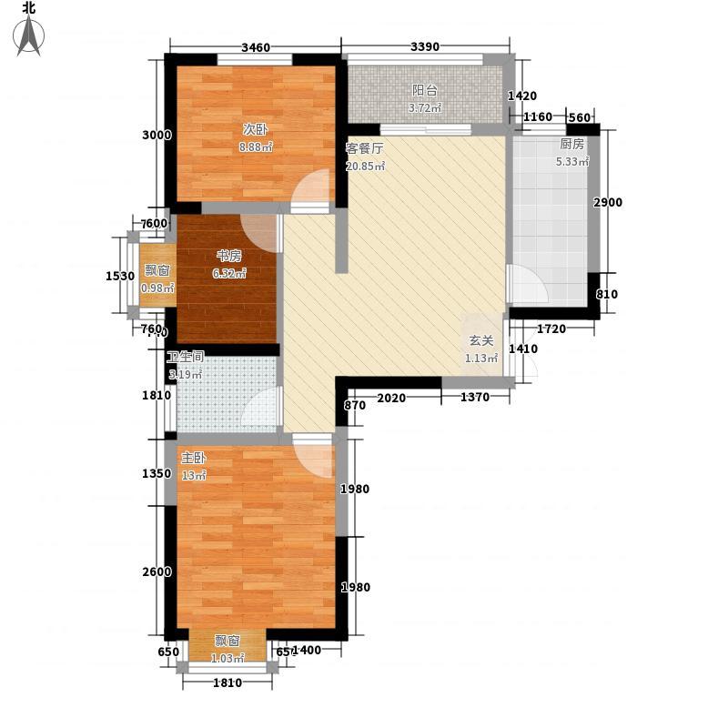 长江一号3室1厅1卫1厨88.00㎡户型图