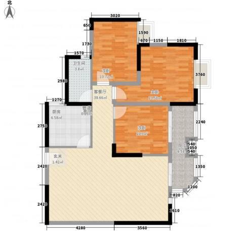 阳光四季3室1厅1卫1厨128.00㎡户型图