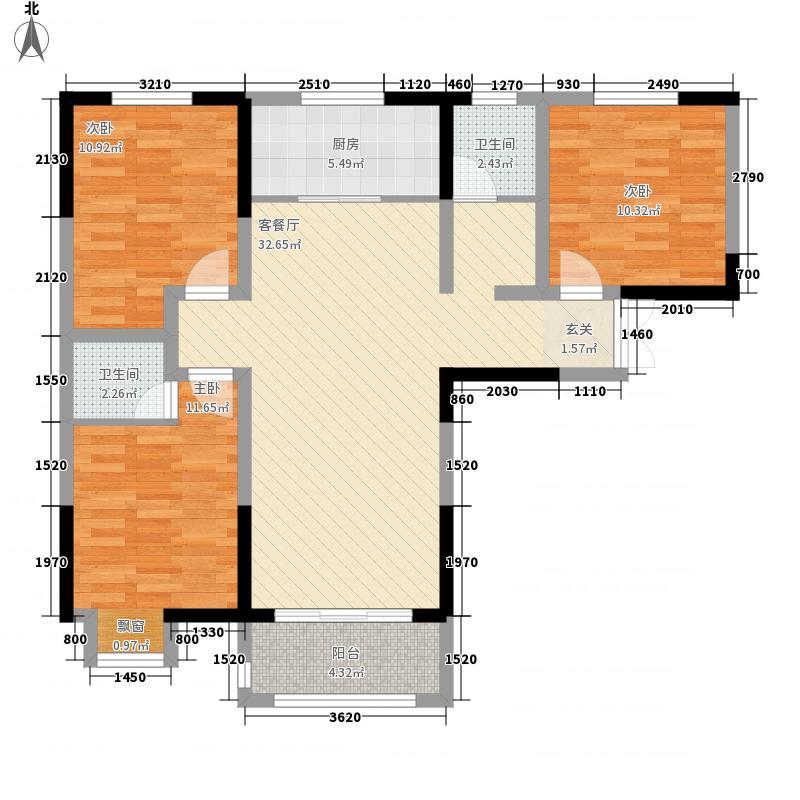 长江一号3室1厅2卫1厨115.00㎡户型图