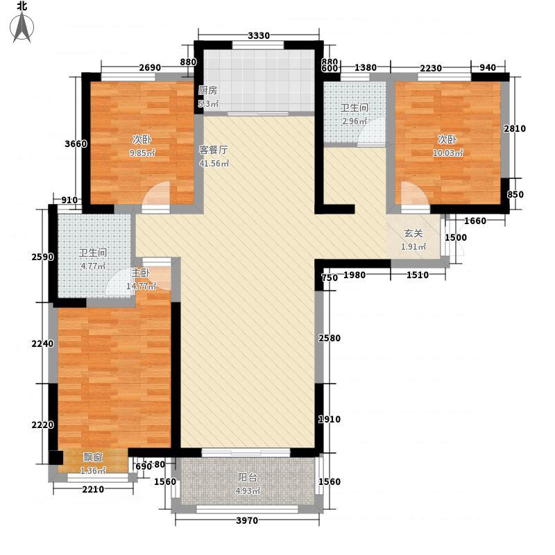 长江一号135.70㎡二期C3户型3室2厅2卫1厨