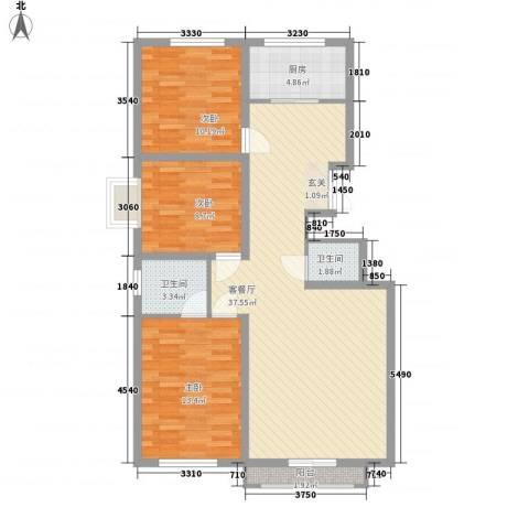 万科惠斯勒小镇3室1厅2卫1厨117.00㎡户型图