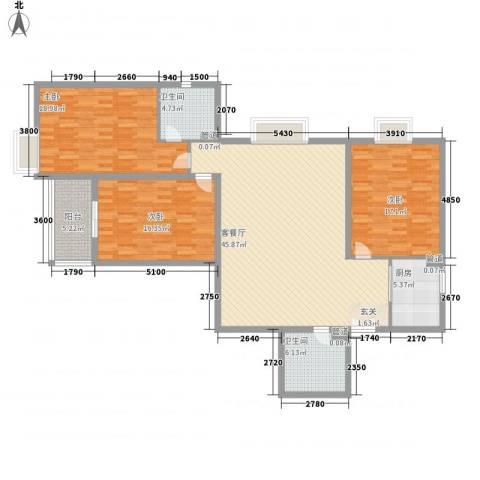 汾河景观3603室1厅2卫1厨147.00㎡户型图
